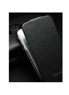 iPhone 4 / 4S Hochwertiges Echtleder Flipcase - Schwarz