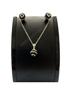 Kristallkugel Anhänger Halskette und Ohrringe