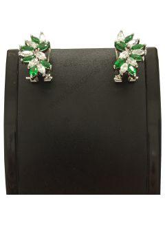 Grüner Smaragd Weiß Topaz Ohrringe