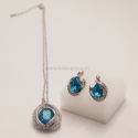 Silber Schmuck-Set Diamant Blau kugel