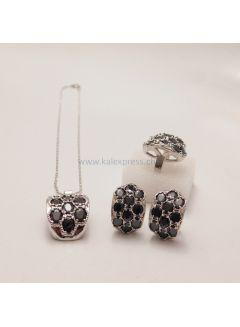 Schwarz Sapphire Silber Schmuck Sets