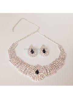 Schwarz Diamante Kristall Halskette