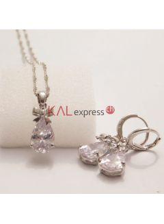 925 Sterling Silber mit Echt glänzende weiße Zirkonia Lever Ohrring-Halskette Frau Schmuck-Set
